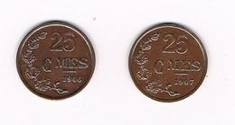//  LETZEBURG  2 X 25 CENTIMES  1946/1947 - Lussemburgo