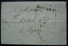 Manosque 1808, Marque Postale Sur Lettre Pour Lyon, Cachet Rond 27 à L'arrière - 1801-1848: Precursores XIX
