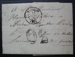 Marquise, Pas De Calais 1856 Lettre Taxée 30, Car Non Timbrée - 1849-1876: Periodo Clásico