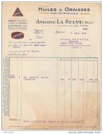 69 LYON  St Etienne Marseille FACTURE HUILES & GRAISSES Industrielles Antoine LA SELVE AUTO OIL SELVOLINE 1924 - K8 - Automovilismo