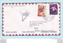 BOLIVIEN 675 680 Blumen - Militär Brief Cover SST Slogan (Scan)(31750) - Bolivia