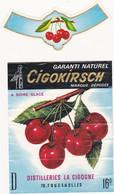 Etiquette GIGOKIRSCH (Cerises) - Distilleries LA CIGOGNE (70) FOUGEROLLES - Fruits & Vegetables