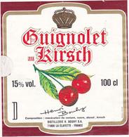 Etiquette GUIGNOLET Au KIRSCH (Cerises)  DISTILLERIES H. BOUHY S.A. (71) LA CLAYETTE - Fruits & Vegetables