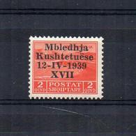 Italia Regno - 1939 - Occupazione Italiana Albania - Assemblea Costituente - 2 Q - Nuovo * - (FDC25394) - Albania