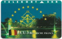 DENMARK TELEKORT PHONECARD/ECU SERIES BELGIUM 5KR- 9/94-3000pcs -USED(MM2) - Dänemark