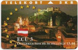 DENMARK TELEKORT PHONECARD/ECU SERIES AUSTRIA 5KR- 8/95-1500pcs -USED(MM2) - Dänemark