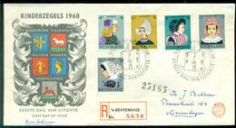 Nederland 1960 Aangetekende FDC Kinderzegels Met Adres En Dichte Klep E46 - FDC
