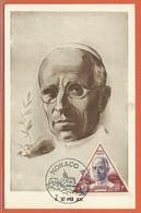RELIGION MONACO CARTE MAXIMUM PAPE DE 1951 - Cristianesimo