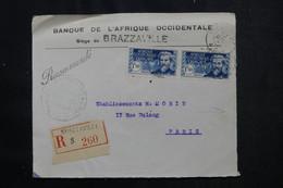 A.E.F. - Enveloppe Commerciale De Brazzaville En Recommandé Pour Paris Par Avion En 1940 Avec Contrôle - L 72541 - Covers & Documents