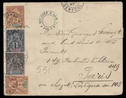 1897 SÉNEGAL - LETTRE CORRESPONDANCE D'ARMEE - Yv. 8,  9 (2), 12 - C.à.d CORR. D. ARM. LIG J PAQ. F. N°4 A PARIS - Covers & Documents