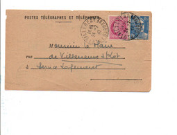 AFFRANCHISSEMENT COMPOSE SUR AVIS DE VILLEREAL LOT ET GARONNE 1947 - Postmark Collection (Covers)