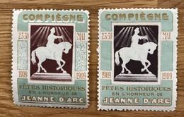 Lot De 2 VIGNETTES 1909 - MH - JEANNE D ARC COMPIEGNE - Autres