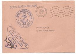 LETTRE OFFICIEL  LORIENT MORBIHAN 20.12.1978 + GRIFFE SOUS MARIN REQUIN - Naval Post