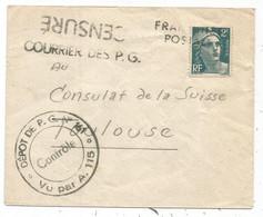 GANDON 2FR ANNULATION GRIFFE FRANCHISE POSTALE LETTRE COURRIER PG CENSURE + DEPOT N°161 POUR TOULOUSE - 1921-1960: Modern Tijdperk