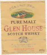 Etiquette Whisky / PURE MALT GLEN HOUSE SCOTCH WHISKY / SCOTLAND - Whisky