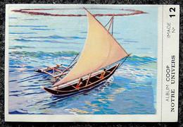 Image Chocolat COOP - Série Notre Univers - N° 12 Marine Pirogue Polynésienne Au Large D'un Atoll - Otros