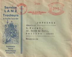 E M A De MANNHEIM Sur Env. Illustrée Des Tracteurs LANZ. Pour La France. ( TTB) Pour Thématique. - Storia Postale