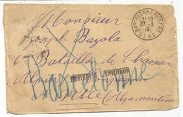 LETTRE FM BARCELONNE DU GERS 27.3.1915 GERS POUR NICE + RETOUR ENVOYEUR + GRIFFE AU DOS - Oorlog 1914-18