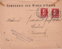 13350  TOUNAI - BAHNOF 18/4/16 - COMPAGNIE Des MINES D'ANZIN - Censure - Duits Leger