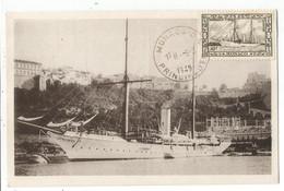 MONACO 10FR CARTE MAXIMUM LE YACHT HIRONDELLE II PRINCE ALBERT MONACO  O.E. 5.3.1949 - Cartas Máxima
