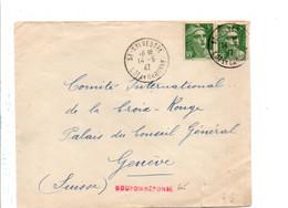 GANDON SUR LETTRE DE SAINT SYLVESTRE LOT ET GARONNE 1947 - Postmark Collection (Covers)