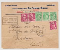 LETTRE 1949 AÉROSTATION AVIATION ÉTABLISSEMENT Ch. FAURE ROUX SAINT CHAMOND LOIRE → SURESNES - MARIANNE GANDON + MERCURE - 1921-1960: Période Moderne