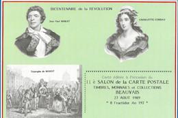 CARTE POSTALE ORIGINALE 11ème BOURSE 1989 BICENTENAIRE DE LA REVOLUTION MARAT ET CORDAY BEAUVAIS OISE (60) - Bolsas Y Salón Para Coleccionistas
