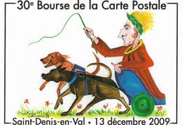 CARTE POSTALE ORIGINALE 30ème BOURSE 2009 DESSIN ORIGINAL GASTON TOURAINE ATTELAGE CESAR SAINT DENIS EN VAL LOIRET (45) - Sammlerbörsen & Sammlerausstellungen