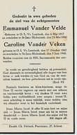 Souvenir Mortuaire Echtgenooten VANDER VELDE Emmanuel (1857-1940) + VANDER VEKEN Caroline (1860-1940). Geboren Te ---> - Andachtsbilder