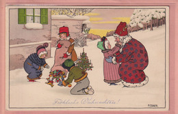 RARE OLD POSTCARD - ARTIST SIGNED PAULI EBNER -  MERRY CHRISTMAS - CHILDREN - SANTA - VIENNE 779 - Ebner, Pauli