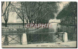 CPA Annecy Le Canal Et L&#39Imperial Palace Bateau Barque - Annecy