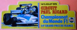 AUTOCOLLANT STICKER - PAUL RICARD - 1978 - CHAMPIONNAT MONDE FORMULE 1 - GP DE FRANCE COURSE AUTOMOBILE - Voitures (Courses)