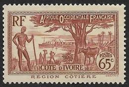 COTE D'IVOIRE   1936-38 -  Y&T  121 - Région Côtière  -  NEUF* + Oblitéré Donné - Unused Stamps