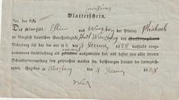 Blatterschein / 1828 / Ex Wuerzburg (B451) - [1] Prephilately