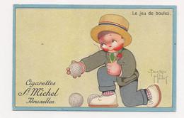 PETIT ILLUSTRATEUR D'ENFANTS : B.MALLET - PUB. CIGARETTES ST MICHEL -BRUXELLES - SPORT :  LE JEU DE BOULES - Mallet, B.