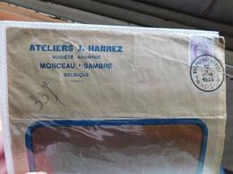 Enveloppe Timbrée Publicitaire, SA Ateliers J. Hanrez, Monceau Sur Sambre, 1925 - Publicités