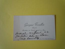2 X Cartes De Visite Autographe Georges TROUILLOT (1851-1916) DEPUTE Du JURA - Autographs