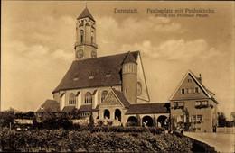 CPA Darmstadt In Hessen, Paulusplatz Mit Pauluskirche Erbaut Von Professor Pützer - Sonstige