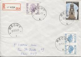 REF1977/ TP Elström + TP S/L.recommandée C.Relais-Etoile-Halte Recht 29/7/74 étiq.recom.St.Vith > Huy - Bolli A Stelle
