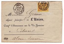 Lettre Paris 1880 Place De La Bourse Compagnie D'Assurance L'Union Colmar Alsace Gramm Type Sage 25 Centimes YT # 92 - 1876-1898 Sage (Type II)