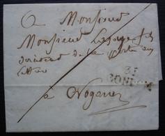 31 / CONDOM (Gers) 1821, Marque 25 X 10 Sur Lettre Pour Le Directeur De La Poste De Nogaro - 1801-1848: Precursores XIX