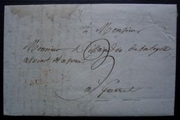 22 AUBUSSON (Creuse) , 1817 Marque Rouge  Sur Lettre Pour Guéret - 1801-1848: Precursores XIX