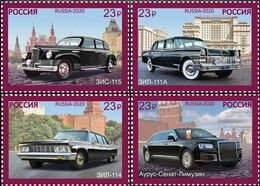 Russia, 2020 Presidential Cars 4 Stamps - Automobili