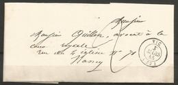 France - Précurseur - LAC Du 3/3/1845 De Vic-sur-Seille (Meurthe) (cachet VIC En Noir) Vers Nancy - 1801-1848: Voorlopers XIX