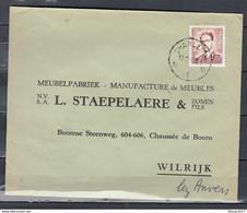Brief Van Charleroi U1U Naar Wilrijk - 1953-1972 Glasses