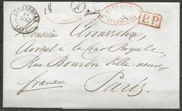 France - Précurseur - LAC Du 18/5/1845 De Strasbourg (cachet Noir Sans L'année) Vers Paris + P.P. Encadré En Rouge + J7 - 1801-1848: Precursori XIX