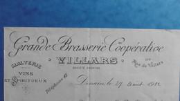 Grande Brasserie Malterie Cooperatieve VILLARS à DENAIN, Rue De Villars 110, 27 Aout 1912 - 1900 – 1949