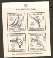 Cuba   1960 SG Ms 958   Rome  Olmpics Imperf Miniature Sheet Unmounted Mint - Summer 1960: Rome