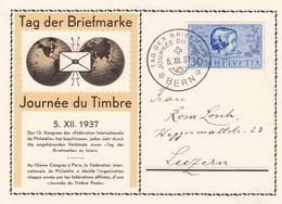 Deutsches Reich Schweiz Postkarte 1937 Tag Der Briefmarke - Bezetting 1938-45