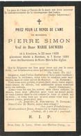 Doodsprentje Pierre Simon (x Marie Louwers ) ° Attenhove 1809 + Bornhem Bornem 1885 - Andachtsbilder